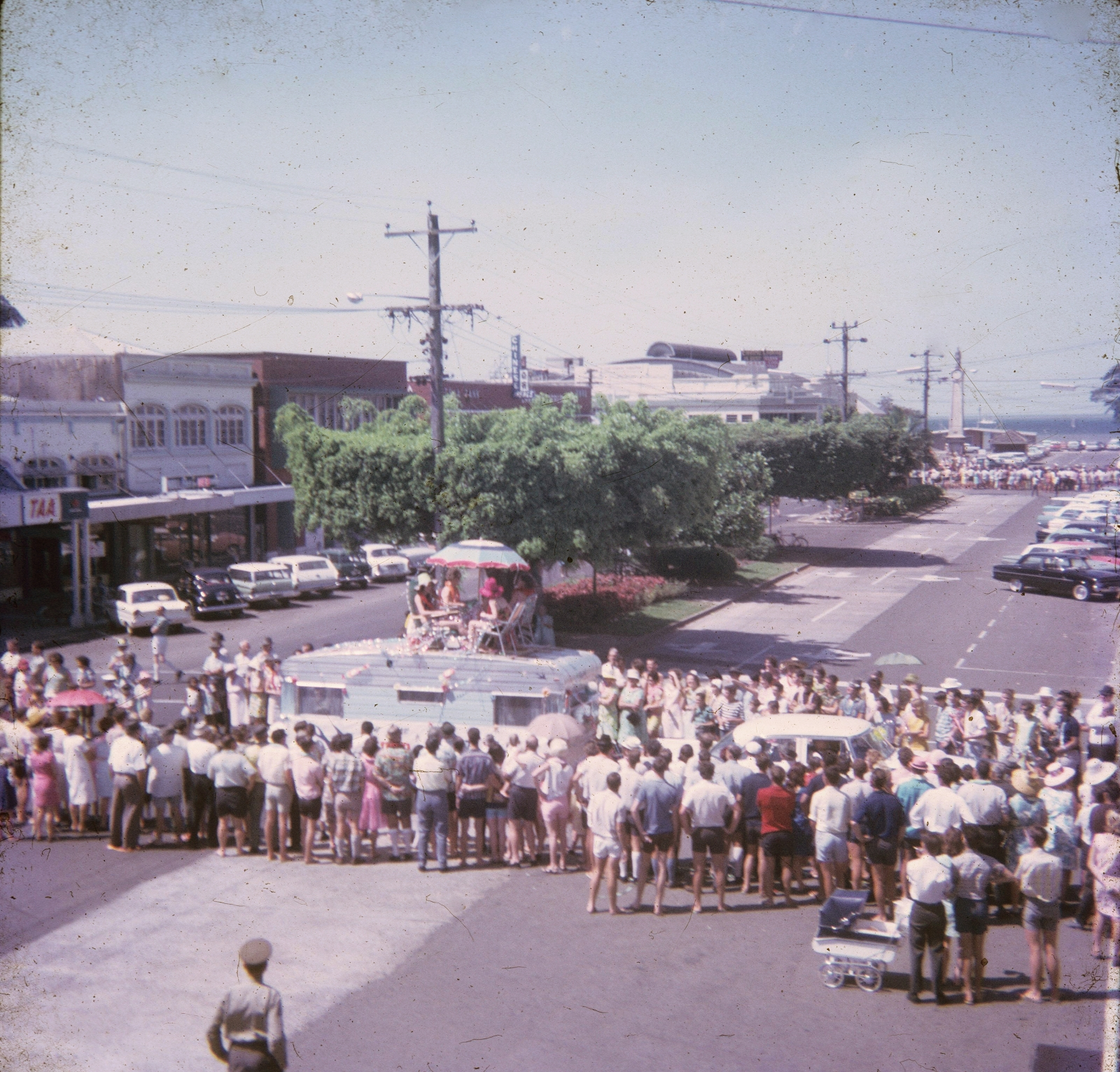 The Fun in the Sun parade, looking up Shields Street, Cairns