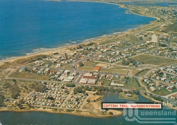 "<span class=""caption-caption"">Cotton Tree, Maroochydore. Cotton Tree camping ground, with the first high rise on the Sunshine Coast in the middleground.</span>, 1975. <br />Postcard by <span class=""caption-publisher"">Bernard Kuskopf</span>, collection of <span class=""caption-contributor"">Centre for the Government of Queensland</span>."