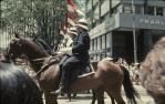 "<span class=""caption-caption"">Queensland Mounted Police at the intersection of Queen, Wharf and Eagle Streets, Brisbane</span>, c1970. <br />Slide, collection of <span class=""caption-contributor"">Robin Barron</span>."