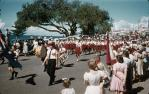 """<span class=""""caption-caption"""">Fife band at Scarborough state school's Anzac Day procession,  Redcliffe</span>, 1959. <br />Slide, collection of <span class=""""caption-contributor"""">Richard Hopkins</span>."""