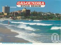 "<span class=""caption-caption"">Boisterous surf at King's Beach Caloundra</span>, c1984. <br />Postcard folder by <span class=""caption-publisher"">Wren Souvenirs</span>, collection of <span class=""caption-contributor"">Centre for the Government of Queensland</span>."