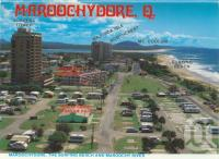 "<span class=""caption-caption"">Maroochydore, the surfing beach and Maroochy River</span>, 1985. <br />Postcard folder by <span class=""caption-publisher"">Wren Souvenirs</span>, collection of <span class=""caption-contributor"">Centre for the Government of Queensland</span>."
