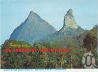"<span class=""caption-caption"">Glass House Mountains, Mt Beewah and Mt Coonowrin</span>, c1984. <br />Postcard folder by <span class=""caption-publisher"">Wren Souvenirs</span>, collection of <span class=""caption-contributor"">Centre for the Government of Queensland</span>."