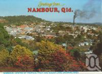 "<span class=""caption-caption"">Nambour, centre of tropical fruit and sugar cane growing</span>, c1984. <br />Postcard folder by <span class=""caption-publisher"">Wren Souvenirs</span>, collection of <span class=""caption-contributor"">Centre for the Government of Queensland</span>."