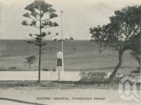"<span class=""caption-caption"">Soldiers' Memorial, Tythleigh Parade, Caloundra</span>, c1935. <br />Postcard folder by <span class=""caption-publisher"">Southern Series</span>, collection of <span class=""caption-contributor"">Centre for the Government of Queensland</span>."
