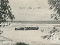 "<span class=""caption-caption"">The Dicky Wreck, Caloundra</span>, c1935. <br />Postcard folder by <span class=""caption-publisher"">Southern Series</span>, collection of <span class=""caption-contributor"">Centre for the Government of Queensland</span>."