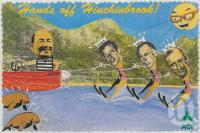 """<span class=""""caption-caption"""">Hands off Hinchinbrook. The Australian Conservation Foundation opposed Mike Gore's redevelopment of Hinchinbrook Harbour</span>, 1996. <br />Postcard by <span class=""""caption-publisher"""">Avant Card</span>, collection of <span class=""""caption-contributor"""">Centre for the Government of Queensland</span>."""