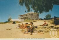 "<span class=""caption-caption"">Surf Life Saving Club House, Mooloolaba</span>, c1961. <br />Postcard folder by <span class=""caption-publisher"">Sydney G Hughes Pty Ltd</span>, collection of <span class=""caption-contributor"">Centre for the Government of Queensland</span>."