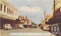 "<span class=""caption-caption"">Kent Street and Royal Hotel, Maryborough</span>, c1950. <br />Postcard folder by <span class=""caption-publisher"">Murray Views Pty Ltd</span>, collection of <span class=""caption-contributor"">Centre for the Government of Queensland</span>."