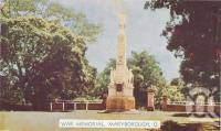 "<span class=""caption-caption"">War memorial, Maryborough</span>, c1950. <br />Postcard folder by <span class=""caption-publisher"">Murray Views Pty Ltd</span>, collection of <span class=""caption-contributor"">Centre for the Government of Queensland</span>."