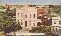 "<span class=""caption-caption"">School of Arts, Maryborough</span>, c1950. <br />Postcard folder by <span class=""caption-publisher"">Murray Views Pty Ltd</span>, collection of <span class=""caption-contributor"">Centre for the Government of Queensland</span>."