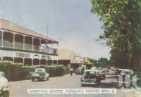 "<span class=""caption-caption"">Shopping centre, Torquay, Hervey Bay</span>, c1950. <br />Postcard folder by <span class=""caption-publisher"">Murray Views Pty Ltd</span>, collection of <span class=""caption-contributor"">Centre for the Government of Queensland</span>."