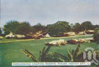 """<span class=""""caption-caption"""">Overlooking camping reserve, Pialba, Hervey Bay</span>, c1950. <br />Postcard folder by <span class=""""caption-publisher"""">Murray Views Pty Ltd</span>, collection of <span class=""""caption-contributor"""">Centre for the Government of Queensland</span>."""