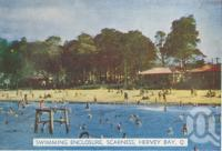 "<span class=""caption-caption"">Swimming enclosure, Scarness, Hervey Bay</span>, c1950. <br />Postcard folder by <span class=""caption-publisher"">Murray Views Pty Ltd</span>, collection of <span class=""caption-contributor"">Centre for the Government of Queensland</span>."