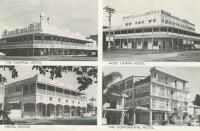 """<span class=""""caption-caption"""">Central Hotel, Hides Cairns Hotel, Hotel Pacific, Continental Hotel Cairns</span>, c1964. <br />Postcard folder by <span class=""""caption-publisher"""">John Sands Pty Ltd</span>, collection of <span class=""""caption-contributor"""">Centre for the Government of Queensland</span>."""