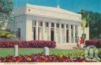 """<span class=""""caption-caption"""">Cairns City Council Chambers</span>, c1964. <br />Postcard folder by <span class=""""caption-publisher"""">John Sands Pty Ltd</span>, collection of <span class=""""caption-contributor"""">Centre for the Government of Queensland</span>."""