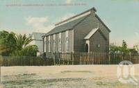 "<span class=""caption-caption"">Queenton Presbyterian Church, Charters Towers</span>, 1909. <br />Postcard by <span class=""caption-publisher"">Willmetts</span>, collection of <span class=""caption-contributor"">Centre for the Government of Queensland</span>."