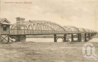 "<span class=""caption-caption"">Burnett Traffic Bridge</span>, 1908. <br />Postcard by <span class=""caption-publisher"">FW Averfell</span>, collection of <span class=""caption-contributor"">Centre for the Government of Queensland</span>."
