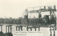 "<span class=""caption-caption"">Tram Crossing, Maroochy River, Maroochydore</span>, c1930. <br />Postcard folder by <span class=""caption-publisher"">Unknown Publisher</span>, collection of <span class=""caption-contributor"">Centre for the Government of Queensland</span>."