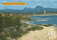 "<span class=""caption-caption"">Maroochydore and Mt Ninderry. Only one high rise Maroochydore</span>, 1980. <br />Postcard by <span class=""caption-publisher"">Bernard Kuskopf</span>, collection of <span class=""caption-contributor"">Centre for the Government of Queensland</span>."