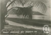 "<span class=""caption-caption"">Sunset Horseshoe Bay, Magnetic Island</span>, c1935. <br />Postcard folder by <span class=""caption-publisher"">Willmetts</span>, collection of <span class=""caption-contributor"">Centre for the Government of Queensland</span>."