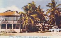 "<span class=""caption-caption"">Hotel Magnetic, Picnic Bay, Magnetic Island</span>, c1960. <br />Postcard folder by <span class=""caption-publisher"">Murray Views Pty Ltd</span>, collection of <span class=""caption-contributor"">Centre for the Government of Queensland</span>."