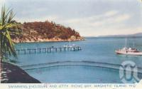 "<span class=""caption-caption"">Swimming enclosure and jetty, Picnic Bay, Magnetic Island</span>, c1960. <br />Postcard folder by <span class=""caption-publisher"">Murray Views Pty Ltd</span>, collection of <span class=""caption-contributor"">Centre for the Government of Queensland</span>."