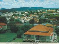 "<span class=""caption-caption"">Overlooking city from the Fire Station Observation Tower, Gympie</span>, c1980. <br />Postcard folder by <span class=""caption-publisher"">Murray Views Pty Ltd</span>, collection of <span class=""caption-contributor"">Centre for the Government of Queensland</span>."