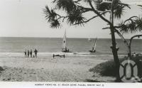 """<span class=""""caption-caption"""">Beach scene, Pialba, Hervey Bay</span>, c1960. <br />Postcard by <span class=""""caption-publisher"""">Murray Views Pty Ltd</span>, collection of <span class=""""caption-contributor"""">Centre for the Government of Queensland</span>."""