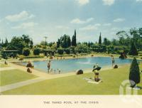 "<span class=""caption-caption"">The third pool at the Oasis</span>, c1960. <br />Postcard folder by <span class=""caption-publisher"">Sydney G Hughes Pty Ltd</span>, collection of <span class=""caption-contributor"">John Young</span>."