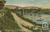 "<span class=""caption-caption"">Albert Bridge Indooroopilly</span>, 1909. <br />Postcard by <span class=""caption-publisher"">Shell Series</span>, collection of <span class=""caption-contributor"">John Young</span>."