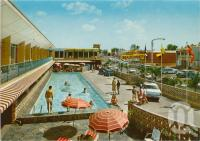 """<span class=""""caption-caption"""">The Beachcomber Motel</span>, c1961. <br />Postcard folder by <span class=""""caption-publisher"""">Kruger</span>, collection of <span class=""""caption-contributor"""">John Young</span>."""