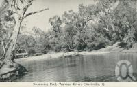 "<span class=""caption-caption"">Swimming pool, Warrego River, Charleville</span>, c1958. <br />Postcard folder by <span class=""caption-publisher"">Murray Views Pty Ltd</span>, collection of <span class=""caption-contributor"">John Young</span>."