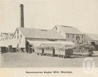 "<span class=""caption-caption"">Racecourse Sugar Mill, Mackay</span>, c1908. <br />Postcard folder by <span class=""caption-publisher"">GC Wood</span>, collection of <span class=""caption-contributor"">John Young</span>."