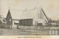 "<span class=""caption-caption"">Roman Catholic Church,  Mackay</span>, c1908. <br />Postcard folder by <span class=""caption-publisher"">GC Wood</span>, collection of <span class=""caption-contributor"">John Young</span>."