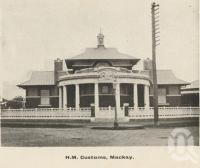 "<span class=""caption-caption"">Customs House, Mackay</span>, c1908. <br />Postcard folder by <span class=""caption-publisher"">GC Wood</span>, collection of <span class=""caption-contributor"">John Young</span>."