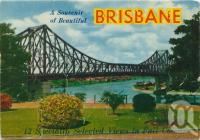 "<span class=""caption-caption"">A souvenir of beautiful Brisbane</span>, c1958. <br />Postcard folder by <span class=""caption-publisher"">Sydney G Hughes Pty Ltd</span>, collection of <span class=""caption-contributor"">Centre for the Government of Queensland</span>."