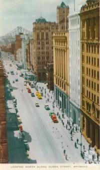 "<span class=""caption-caption"">Looking north along Queens Street, Brisbane</span>, c1958. <br />Postcard folder by <span class=""caption-publisher"">Sydney G Hughes Pty Ltd</span>, collection of <span class=""caption-contributor"">Centre for the Government of Queensland</span>."