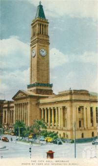 "<span class=""caption-caption"">The city hall</span>, c1958. <br />Postcard folder by <span class=""caption-publisher"">Sydney G Hughes Pty Ltd</span>, collection of <span class=""caption-contributor"">Centre for the Government of Queensland</span>."