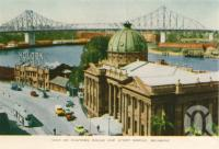 "<span class=""caption-caption"">View of Customs House and Story Bridge, Brisbane</span>, c1958. <br />Postcard folder by <span class=""caption-publisher"">Sydney G Hughes Pty Ltd</span>, collection of <span class=""caption-contributor"">Centre for the Government of Queensland</span>."