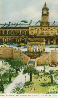 "<span class=""caption-caption"">Anzac memorial and square and railway station, Brisbane</span>, c1958. <br />Postcard folder by <span class=""caption-publisher"">Sydney G Hughes Pty Ltd</span>, collection of <span class=""caption-contributor"">Centre for the Government of Queensland</span>."