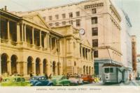"<span class=""caption-caption"">General post office, Queens Street, Brisbane</span>, c1958. <br />Postcard folder by <span class=""caption-publisher"">Sydney G Hughes Pty Ltd</span>, collection of <span class=""caption-contributor"">Centre for the Government of Queensland</span>."
