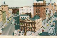"<span class=""caption-caption"">Intersection of Queen and Eagle Streets, Brisbane</span>, c1958. <br />Postcard folder by <span class=""caption-publisher"">Sydney G Hughes Pty Ltd</span>, collection of <span class=""caption-contributor"">Centre for the Government of Queensland</span>."