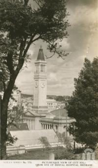"<span class=""caption-caption"">Picturesque view of city hall from site of dental hospital, Brisbane</span>, c1938. <br />Postcard by <span class=""caption-publisher"">Sidues Series</span>, collection of <span class=""caption-contributor"">Centre for the Government of Queensland</span>."