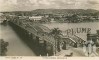 "<span class=""caption-caption"">Victoria Bridge, Brisbane</span>, c1930. <br />Postcard by <span class=""caption-publisher"">Sidues Series</span>, collection of <span class=""caption-contributor"">Centre for the Government of Queensland</span>."