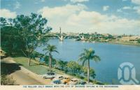 "<span class=""caption-caption"">The William Jolly Bridge with the city of Brisbane Skyline in background</span>, c1938. <br />Postcard folder by <span class=""caption-publisher"">Sydney G Hughes Pty Ltd</span>, collection of <span class=""caption-contributor"">Centre for the Government of Queensland</span>."