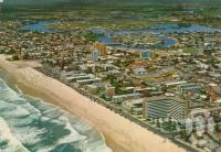 """<span class=""""caption-caption"""">Bird's eye view of Surfers Paradise</span>, c1970. <br />Postcard by <span class=""""caption-publisher"""">John Engelander & Co Pty Ltd</span>, collection of <span class=""""caption-contributor"""">Centre for the Government of Queensland</span>."""