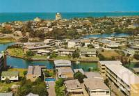 """<span class=""""caption-caption"""">Overlooking Surfers Paradise</span>, c1965. <br />Postcard by <span class=""""caption-publisher"""">Garrick</span>, collection of <span class=""""caption-contributor"""">Centre for the Government of Queensland</span>."""
