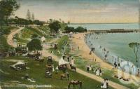 "<span class=""caption-caption"">The beach, Sandgate</span>, c1910. <br />Postcard by <span class=""caption-publisher"">Coloured Shell Series</span>, collection of <span class=""caption-contributor"">Centre for the Government of Queensland</span>."