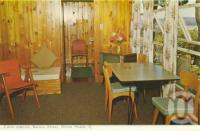 "<span class=""caption-caption"">Cabin interior, Bailey's Motel, Noosa Heads</span>, c1962. <br />Postcard folder by <span class=""caption-publisher"">Murray Views Pty Ltd</span>, collection of <span class=""caption-contributor"">Centre for the Government of Queensland</span>."